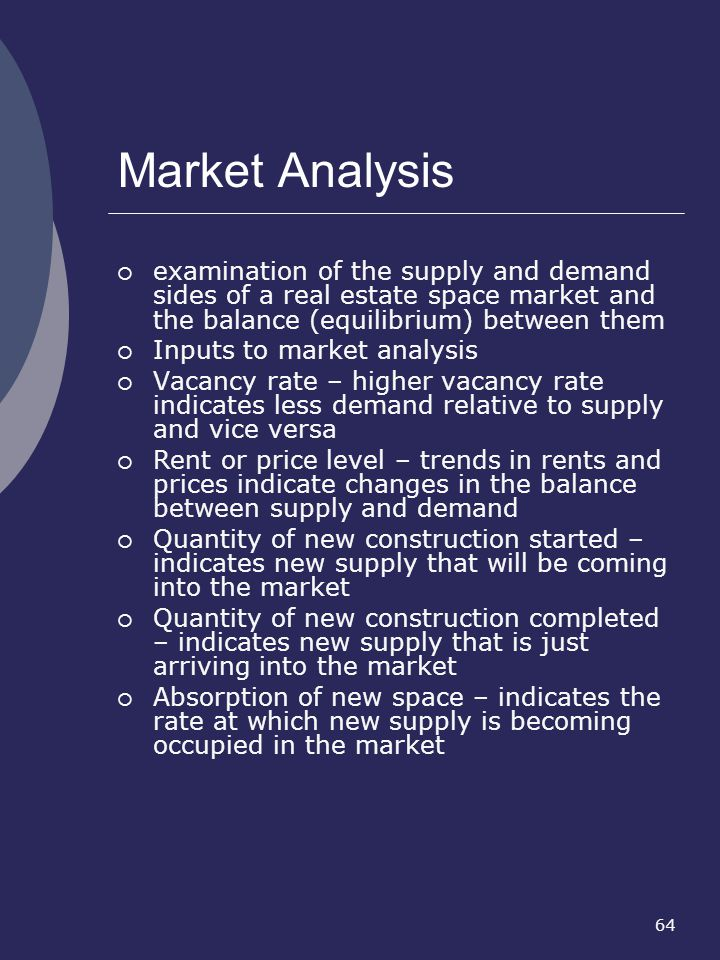 Market Analysis examination of the supply and demand sides of a real estate space market and the balance (equilibrium) between them.