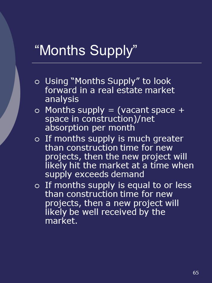 Months Supply Using Months Supply to look forward in a real estate market analysis.
