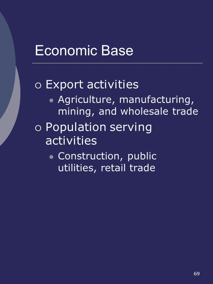 Economic Base Export activities Population serving activities