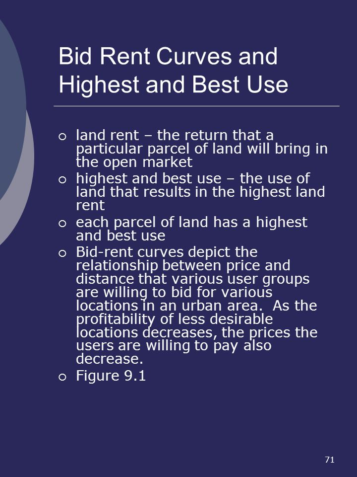 Bid Rent Curves and Highest and Best Use