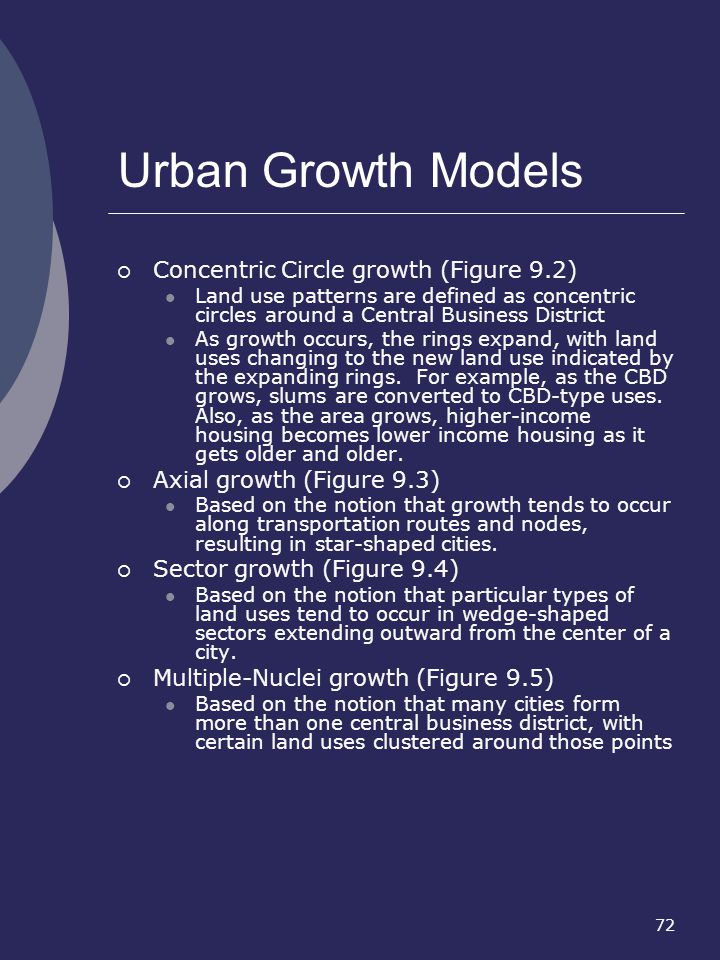 Urban Growth Models Concentric Circle growth (Figure 9.2)