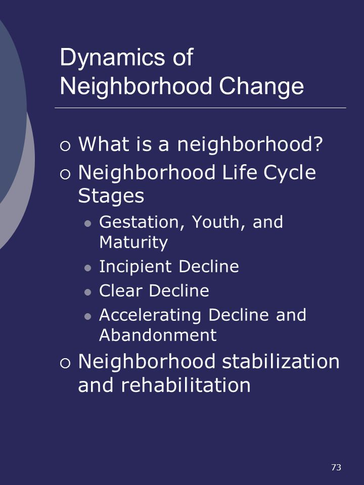 Dynamics of Neighborhood Change