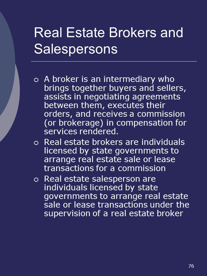Real Estate Brokers and Salespersons