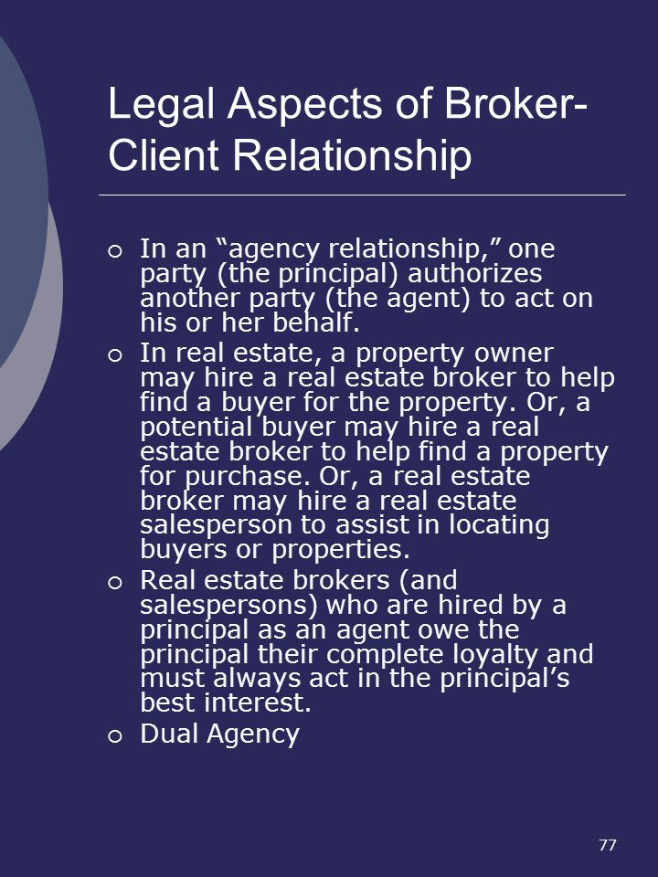Legal Aspects of Broker- Client Relationship