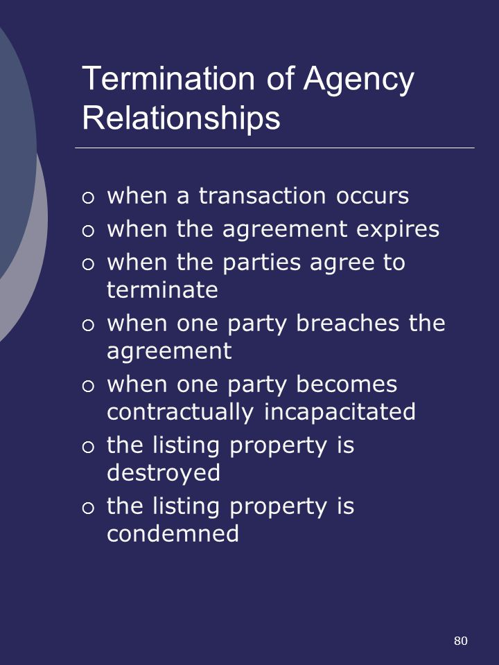Termination of Agency Relationships