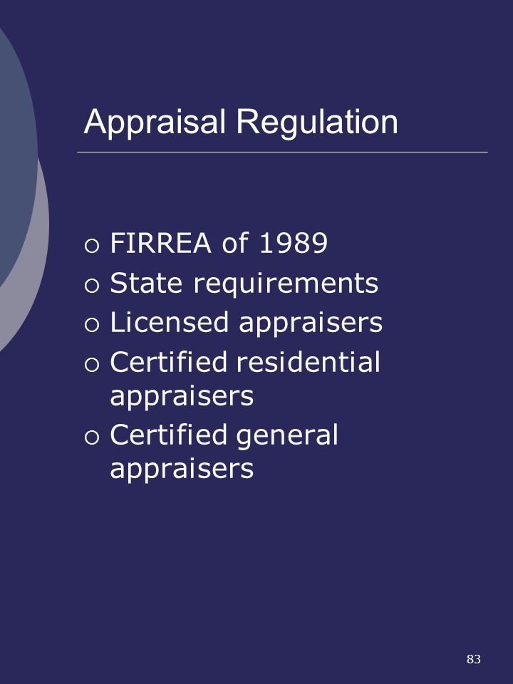 Appraisal Regulation FIRREA of 1989 State requirements