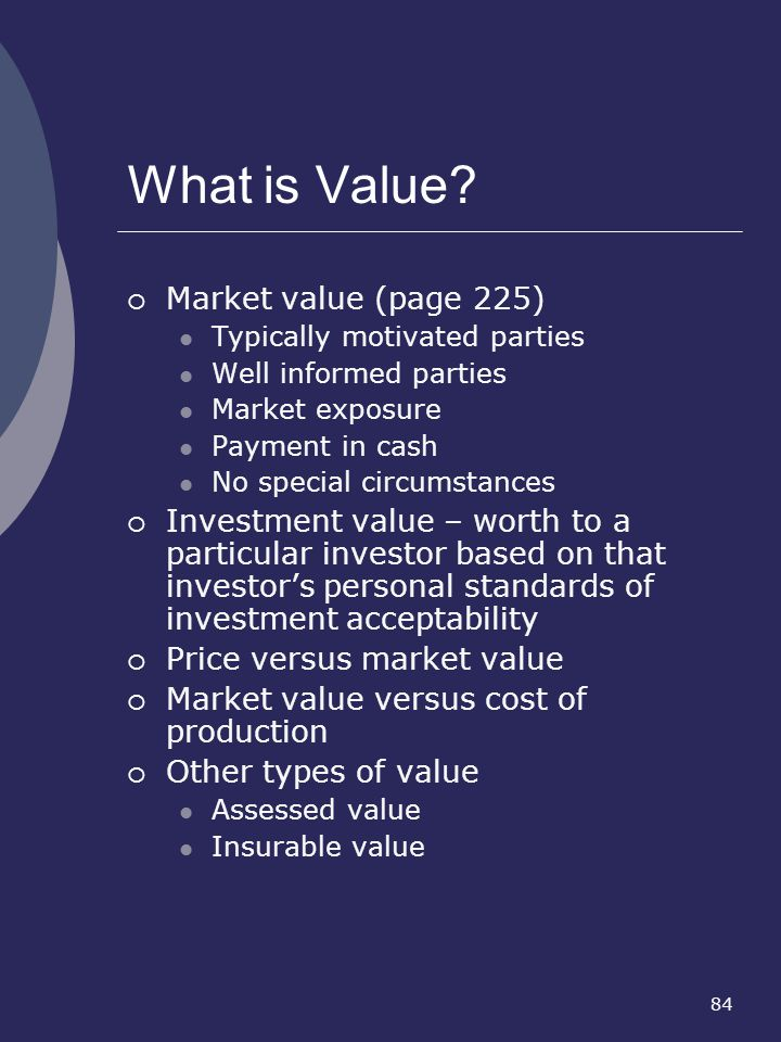 What is Value Market value (page 225)