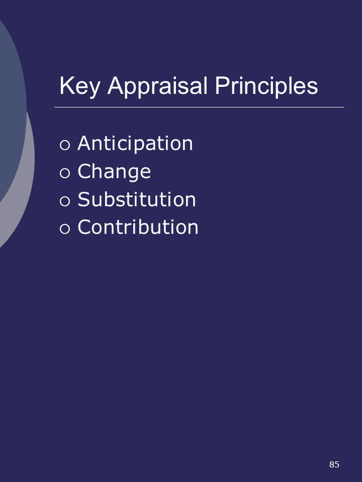Key Appraisal Principles