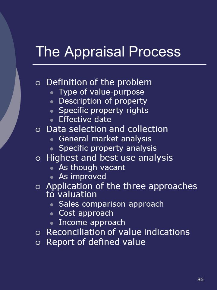 The Appraisal Process Definition of the problem