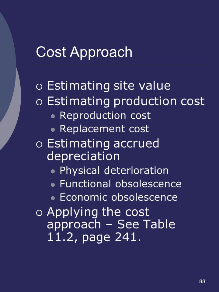 Cost Approach Estimating site value Estimating production cost