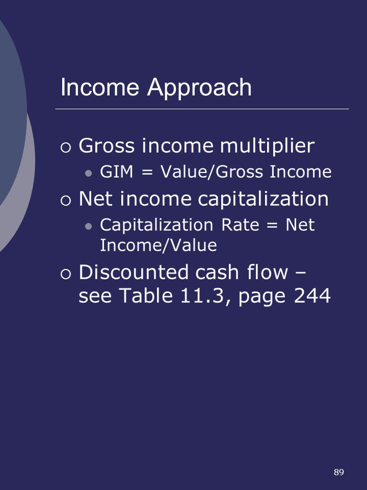 Income Approach Gross income multiplier Net income capitalization