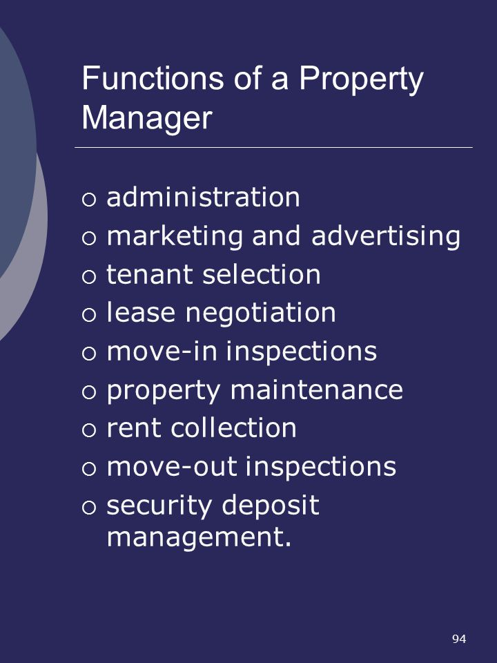 Functions of a Property Manager