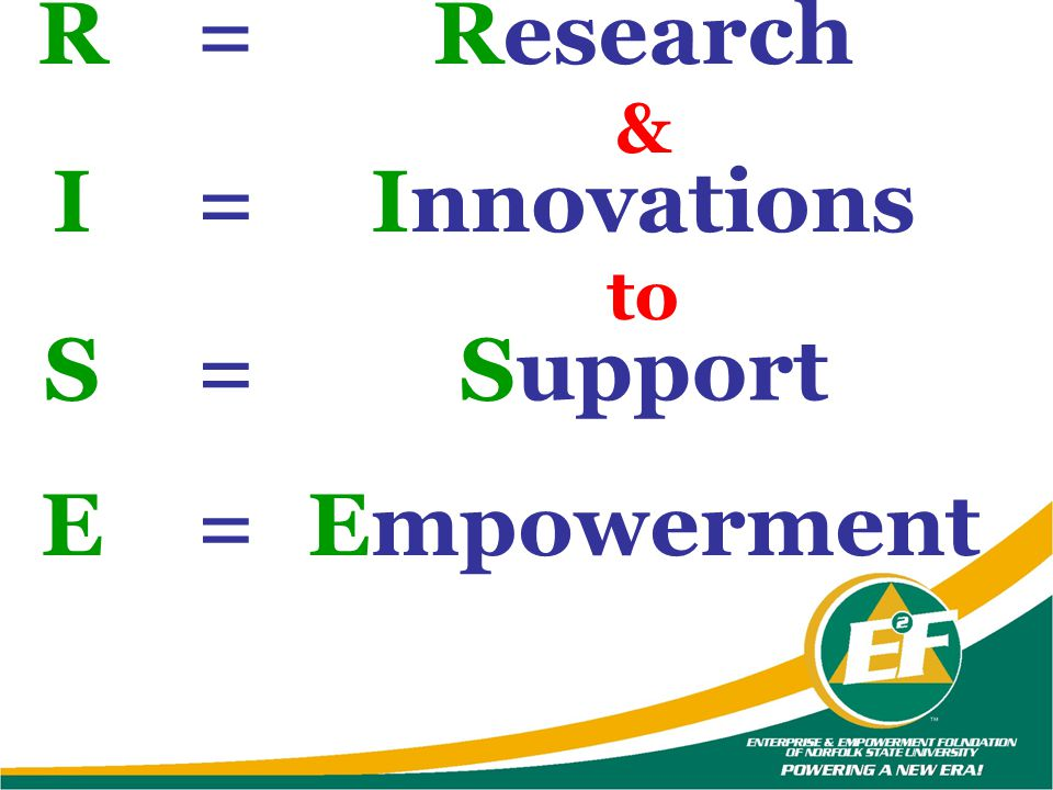 R = Research I = Innovations S = Support E = Empowerment