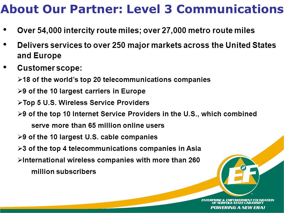 About Our Partner: Level 3 Communications