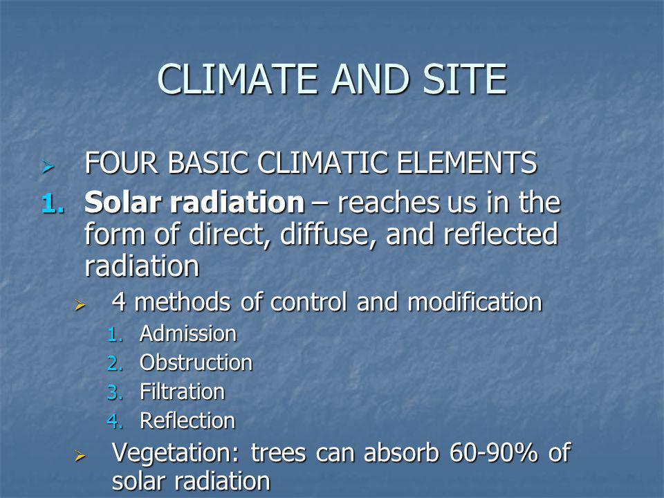 CLIMATE AND SITE FOUR BASIC CLIMATIC ELEMENTS