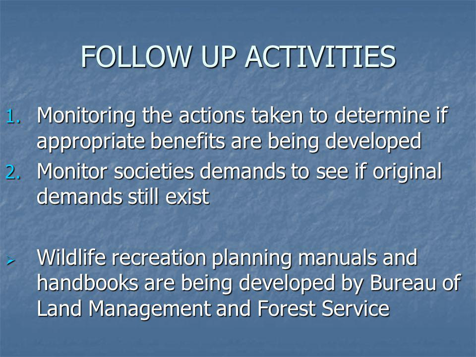 FOLLOW UP ACTIVITIES Monitoring the actions taken to determine if appropriate benefits are being developed.