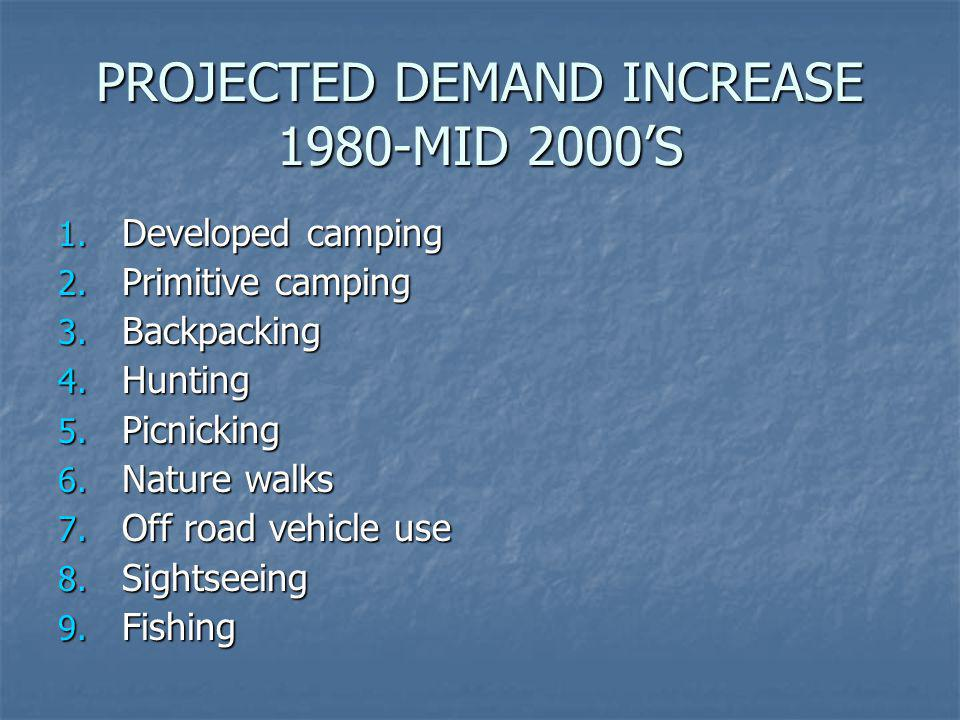 PROJECTED DEMAND INCREASE 1980-MID 2000'S