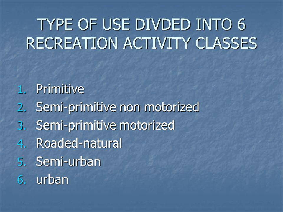 TYPE OF USE DIVDED INTO 6 RECREATION ACTIVITY CLASSES