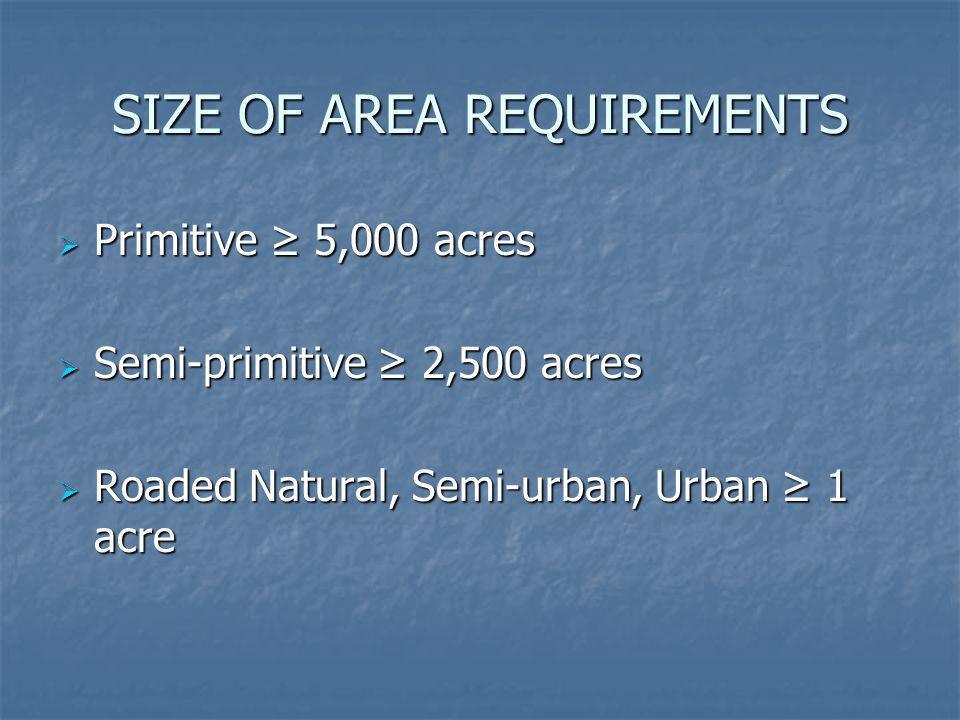 SIZE OF AREA REQUIREMENTS