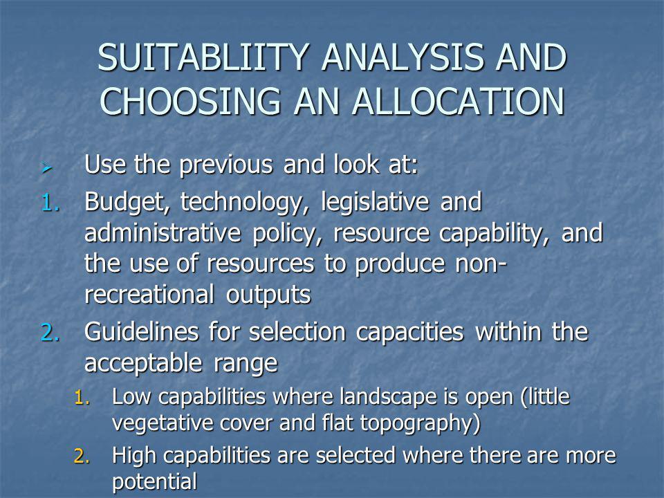 SUITABLIITY ANALYSIS AND CHOOSING AN ALLOCATION