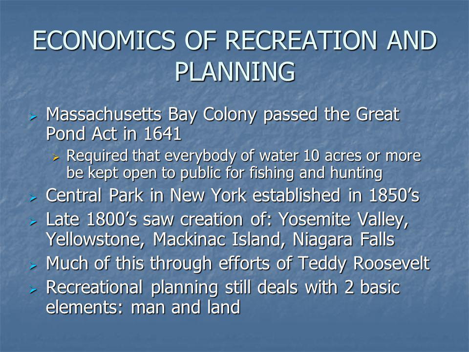 ECONOMICS OF RECREATION AND PLANNING