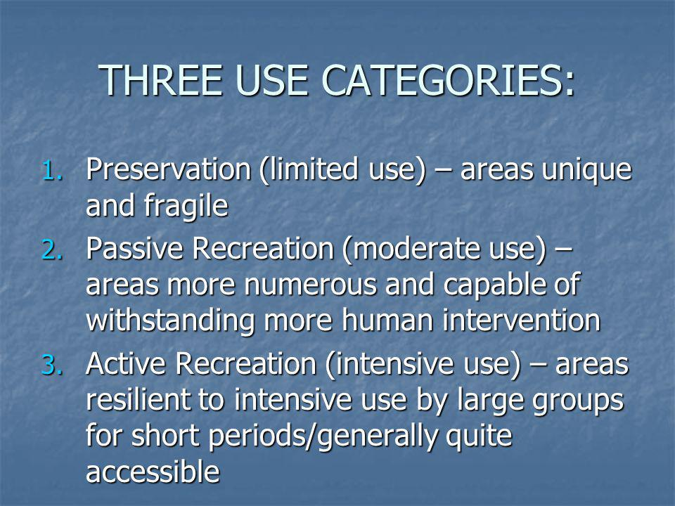 THREE USE CATEGORIES: Preservation (limited use) – areas unique and fragile.