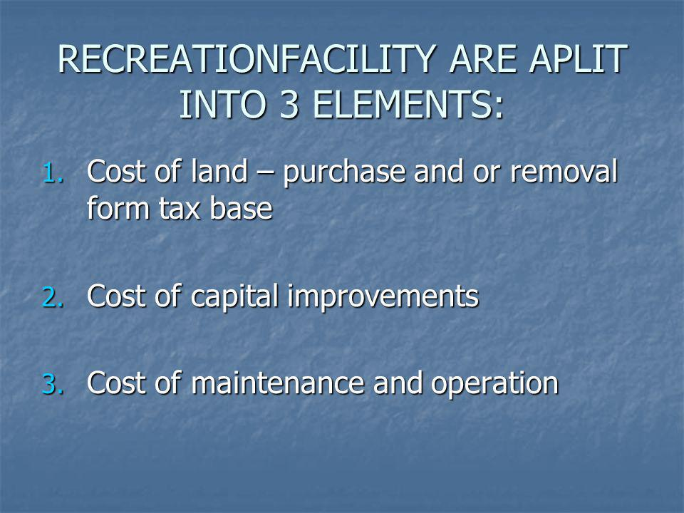 RECREATIONFACILITY ARE APLIT INTO 3 ELEMENTS: