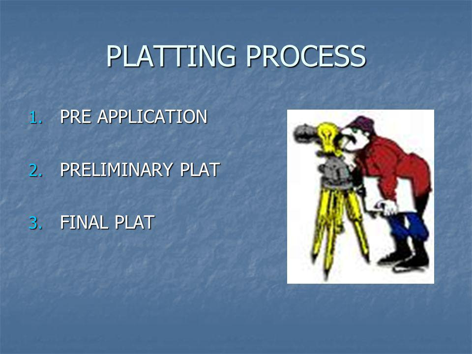 PLATTING PROCESS PRE APPLICATION PRELIMINARY PLAT FINAL PLAT