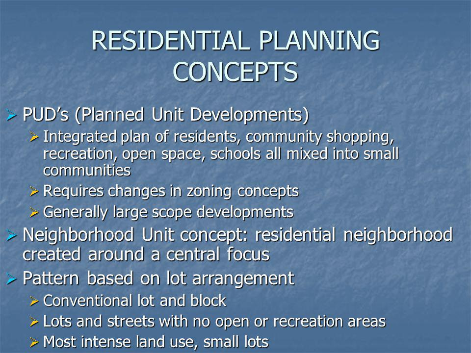 RESIDENTIAL PLANNING CONCEPTS