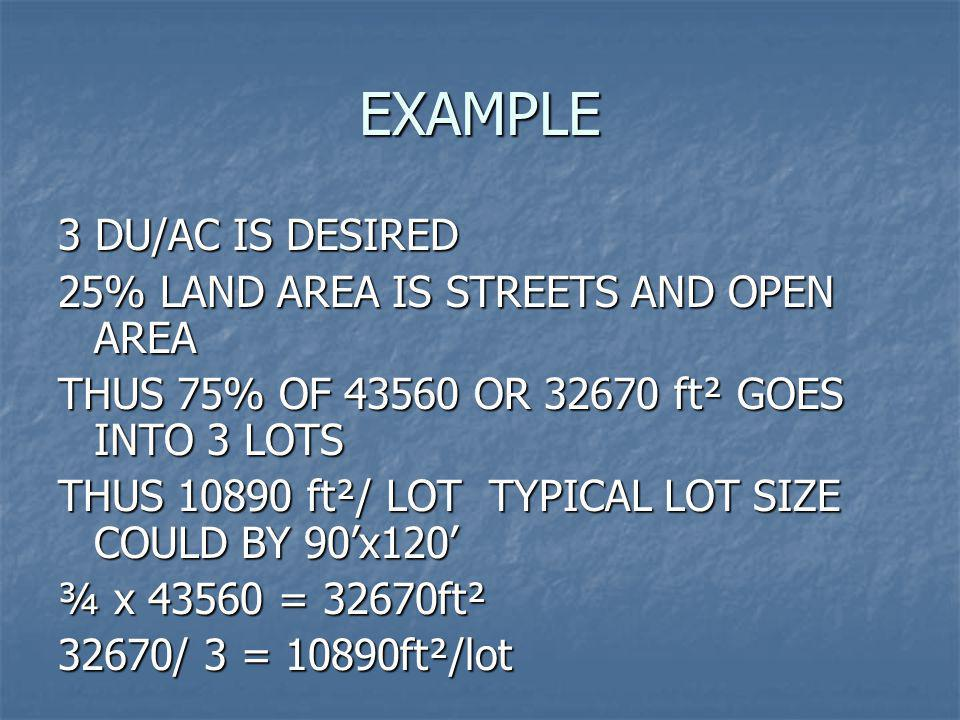 EXAMPLE 3 DU/AC IS DESIRED 25% LAND AREA IS STREETS AND OPEN AREA
