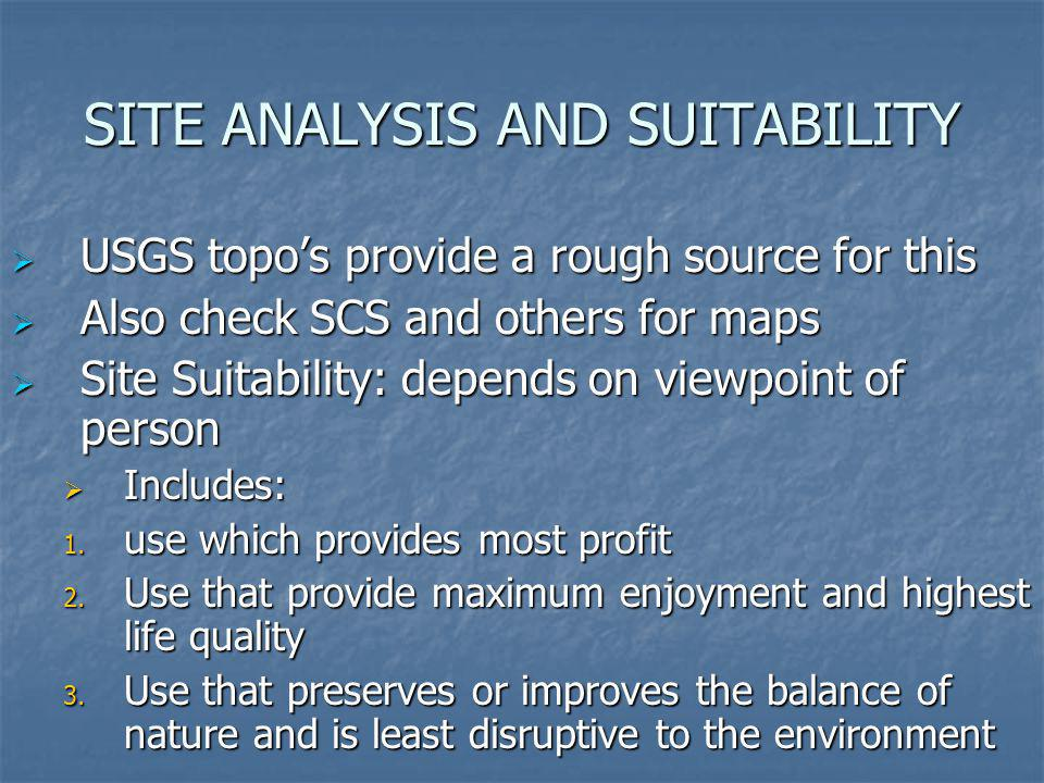 SITE ANALYSIS AND SUITABILITY