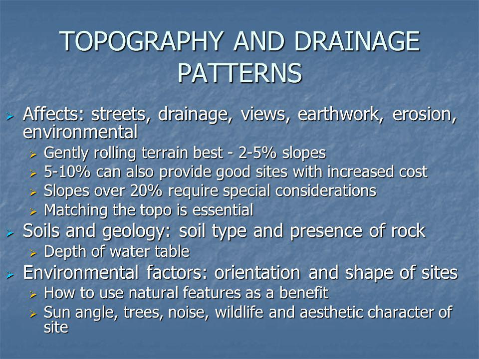 TOPOGRAPHY AND DRAINAGE PATTERNS