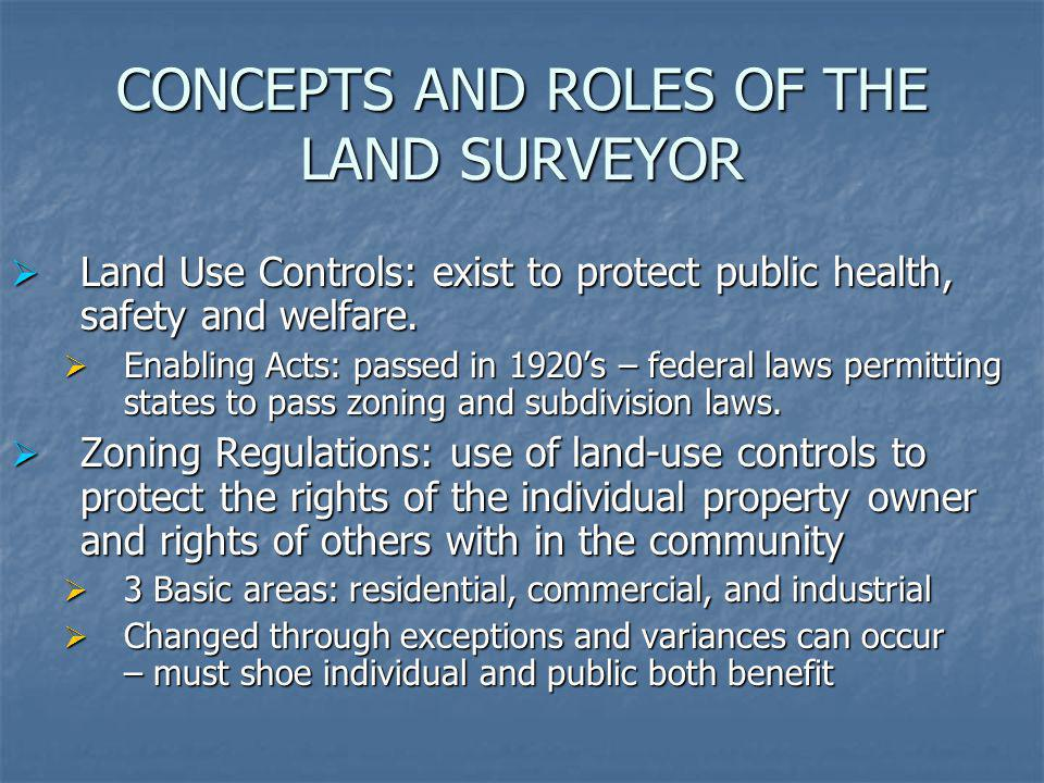 CONCEPTS AND ROLES OF THE LAND SURVEYOR