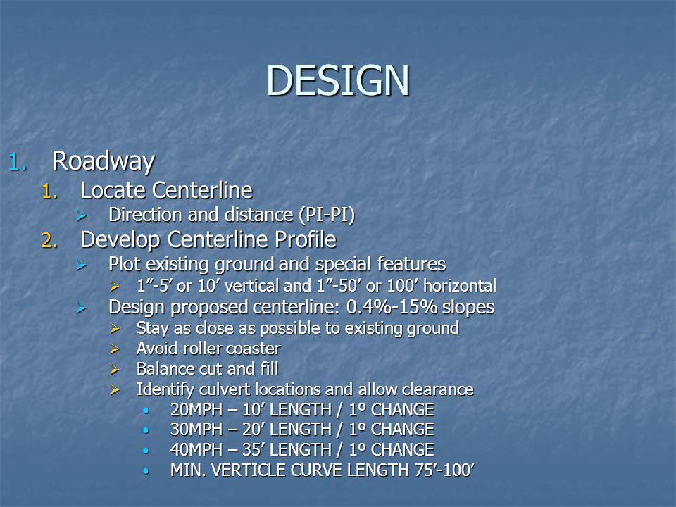 DESIGN Roadway Locate Centerline Develop Centerline Profile