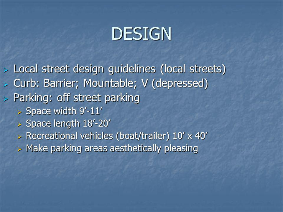 DESIGN Local street design guidelines (local streets)