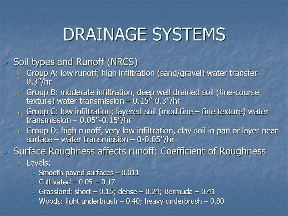 DRAINAGE SYSTEMS Soil types and Runoff (NRCS)