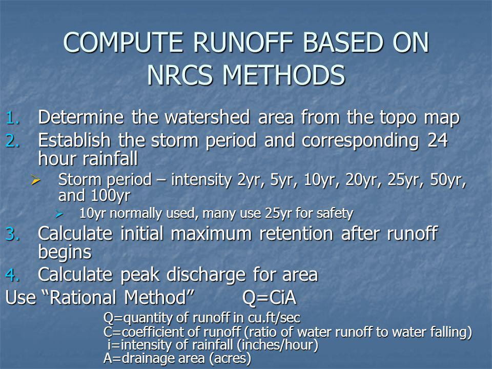 COMPUTE RUNOFF BASED ON NRCS METHODS