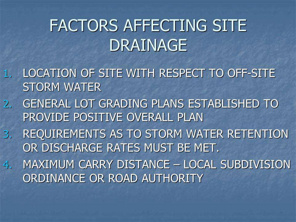 FACTORS AFFECTING SITE DRAINAGE