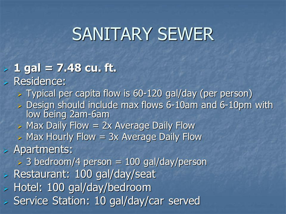 SANITARY SEWER 1 gal = 7.48 cu. ft. Residence: Apartments: