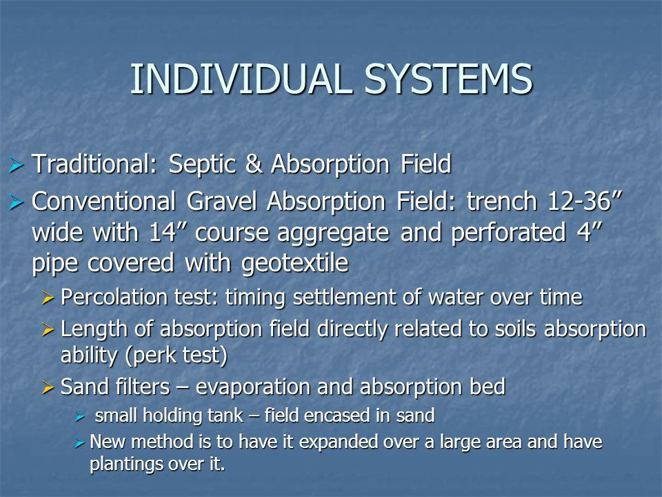 INDIVIDUAL SYSTEMS Traditional: Septic & Absorption Field