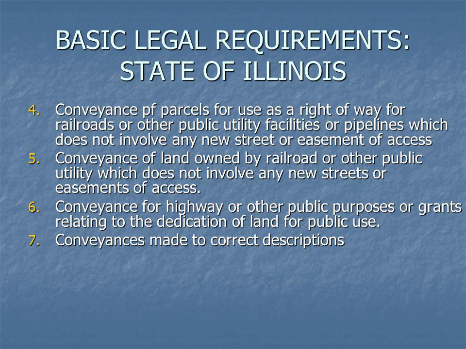 BASIC LEGAL REQUIREMENTS: STATE OF ILLINOIS