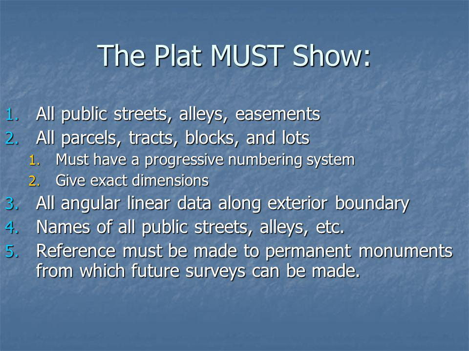 The Plat MUST Show: All public streets, alleys, easements
