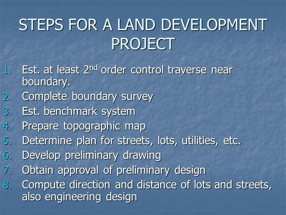 STEPS FOR A LAND DEVELOPMENT PROJECT