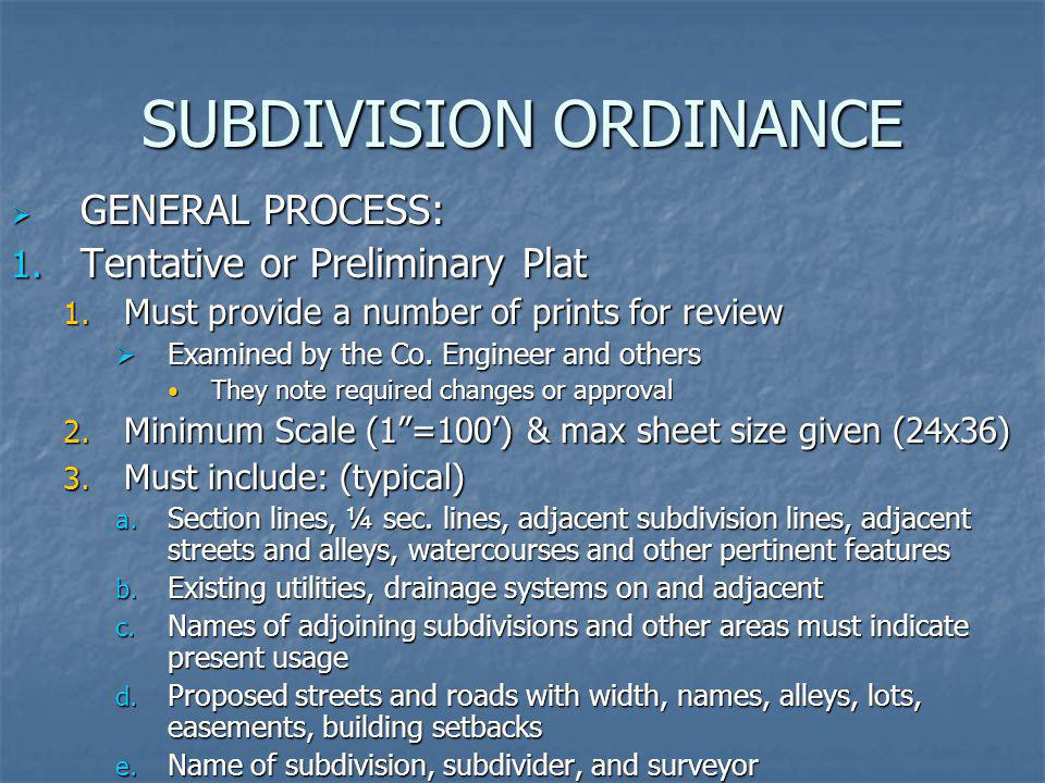 SUBDIVISION ORDINANCE