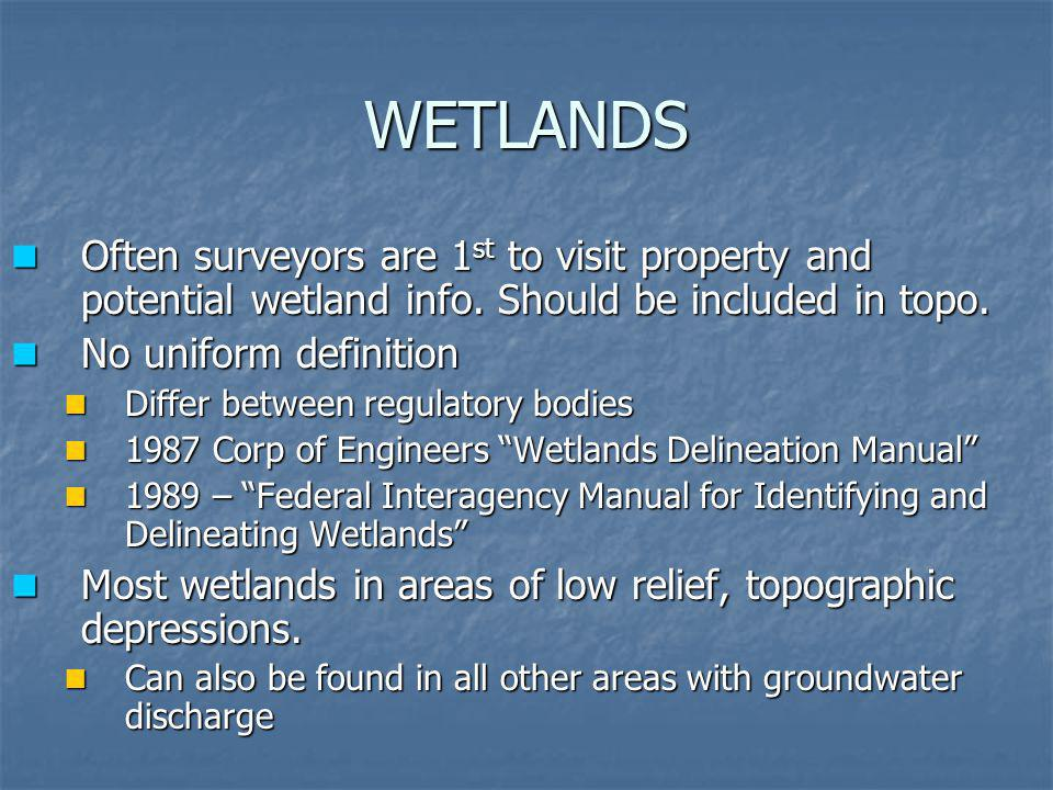 WETLANDS Often surveyors are 1st to visit property and potential wetland info. Should be included in topo.