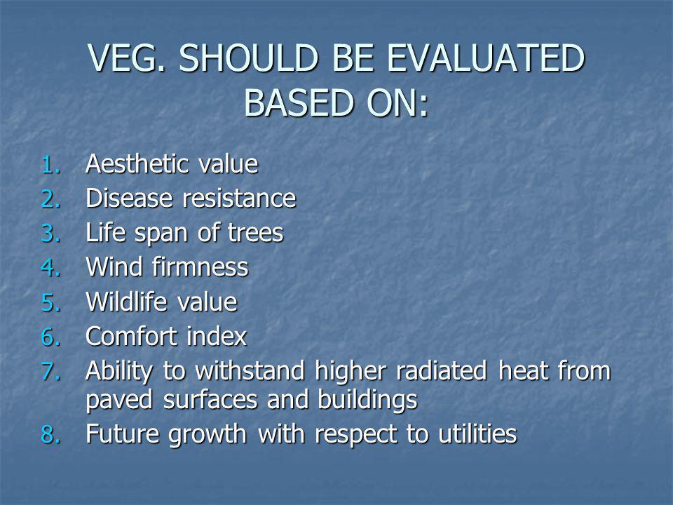 VEG. SHOULD BE EVALUATED BASED ON: