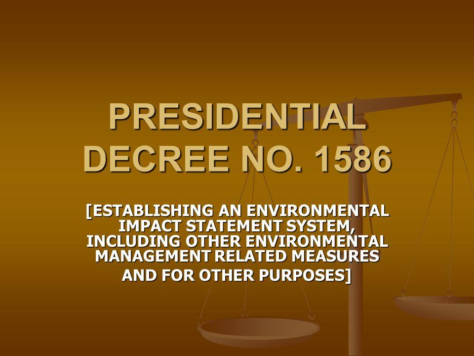 PRESIDENTIAL DECREE NO. 1586
