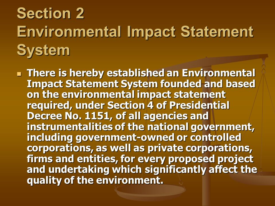 Section 2 Environmental Impact Statement System
