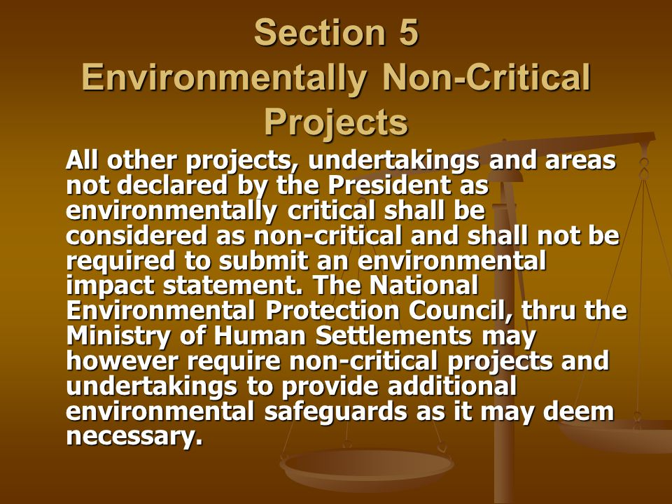Section 5 Environmentally Non-Critical Projects