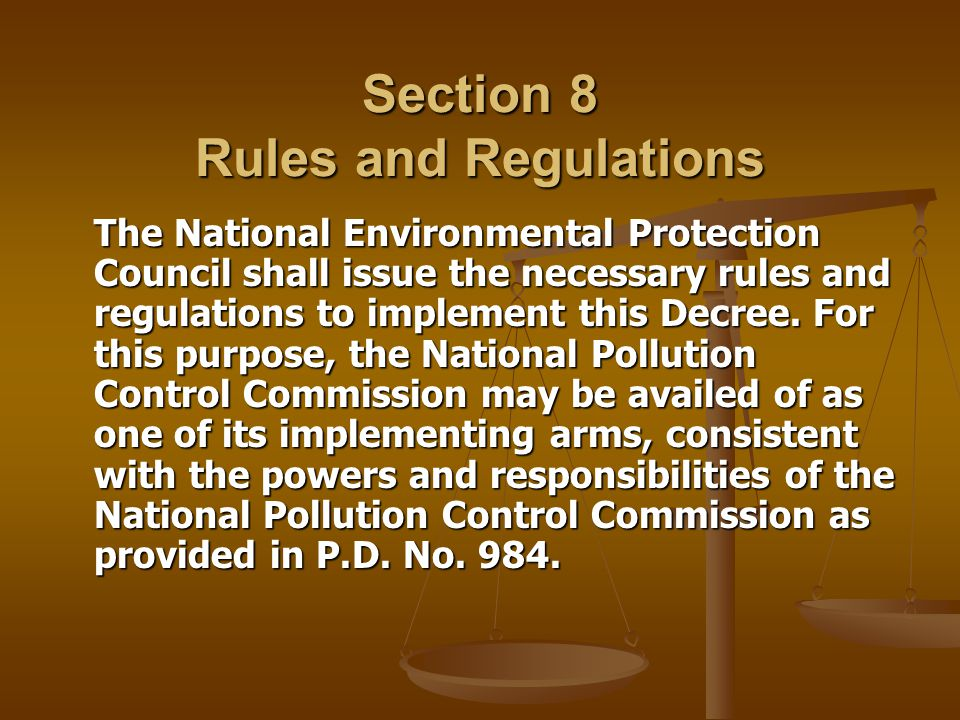 Section 8 Rules and Regulations